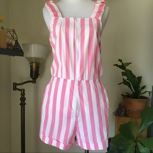 Vintage Pink & White Striped Romper